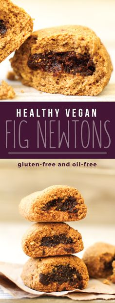 These Vegan Gluten-free Fig Newtons have all the figgy flavor, but none of the gluten, oil or sugar! Made healthy with dates, oats, and a special citrus kick. Healthy Vegan Snacks, Vegan Treats, Healthy Desserts, Dessert Recipes, Vegetarian Sweets, Healthy Baking, Vegan Food, Vegan Gluten Free, Gluten Free Recipes