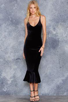 Frill Seeker Velvet Black Midi Dress - LIMITED ($120AUD) by BlackMilk Clothing