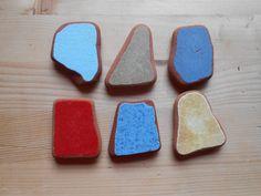 Sea pottery,colorful shards sea pottery, bright solid color,rainbow ,collectible,home decor,art,fairy garden,DIY project 6 pieces lotto185 di lepropostedimari su Etsy