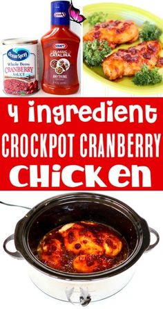 Crockpot Chicken Recipes Easy Healthy Cranberry Chicken Recipe! Crockpot Chicken Recipes Easy Healthy Cranberry Chicken Recipe!  Just 4 ingredients and you've such a delicious dinner your whole family will LOVE!  Go grab the recipe and give it a try this week!<br> Crock Pot Recipes, Recetas Crock Pot, Healthy Chicken Recipes, Easy Healthy Recipes, Slow Cooker Recipes, Easy Meals, Recipe Chicken, Healthy Crockpot Chicken Recipes, Frugal