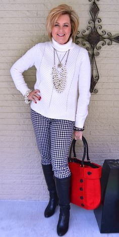 50 IS NOT OLD   HOUNDSTOOTH PANTS ARE CLASSIC   Black & White   Pop of Color   Houndstooth Print   Fashion over 40 for the everyday woman