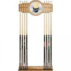 Guinness Officially Licensed High-End Furniture 2 Piece Oak Cue Rack with Mirror #Guinness