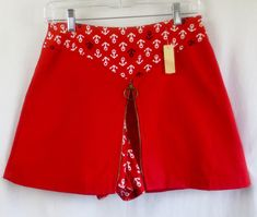 DEADSTOCK Vintage 1960'S Ruby Red Nautical Bicycle Mini Skirt Skort w/Tags-Never Worn-sz Med by delilahsdeluxe on Etsy