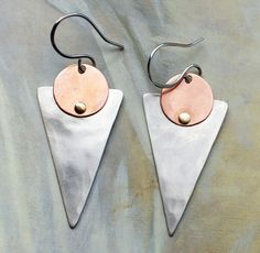 Sterling Silver, Copper, Nickel and Brass Riveted Dangle Earrings