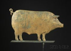 Small Molded Copper Gilt Pig Weather Vane