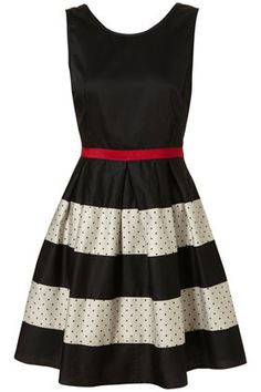 Polka dots, stripes, red, black, and white?  Yes.