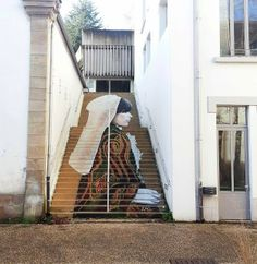 """La Morlaisienne"" Anamoprhic Street Art Piece by French Artist ZAG on the streets of Morlaix in France. 1"