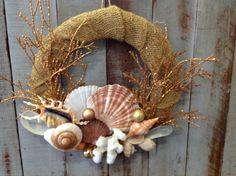 Gold Exotic Seashell Wreath by SeaThingsVentura on Etsy, $75.00