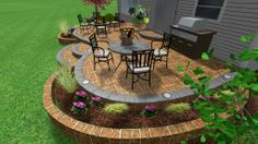 Raised Stamped Concrete Patio and Garden wall.