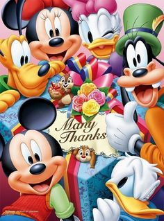 Pluto, Donald, Daisy Goofy, Minnie, Mickey Many Thanks Disney Micky Maus, Mickey Mouse Cartoon, Mickey Mouse And Friends, Walt Disney, Disney Frozen, Disney Pixar, Disney Characters, Retro Disney, Disney Love