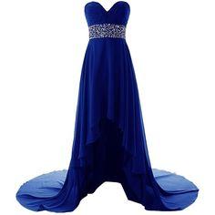Dresstells Long Chiffon Dress with Beadings Bridesmaid Dresses Prom... ($130) ❤ liked on Polyvore featuring dresses, long dresses, chiffon prom dresses, long prom dresses, blue prom dresses, beaded bridesmaid dresses and blue chiffon dress