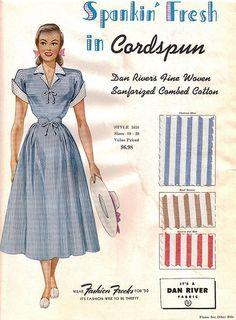"Fashion Frocks ""Spankin' Fresh in Cordspun"" 1950 fashion vintage style 50s color illustration print ad day dress blue white cuffs full skirt"