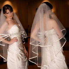 Find More Bridal Veils Information about Delicate Vestido De Noiva Wedding Veil Two layer White/Ivory Bridal Veil Ribbon Edge Wedding Accessories Veu De Noiva Veil 2014,High Quality veil accessories,China veil cathedral Suppliers, Cheap accessories hyundai from dream dress house on Aliexpress.com