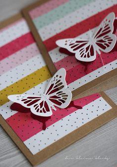 der kleine klecks Schmetterlingskarte mit dem Januarkit der Papierwerkstatt - Papillons - metaliks - Kesi´art