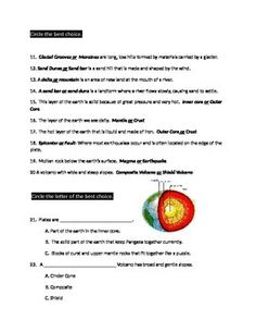 This is an assessment I made for my Fifth Grade Science classroom but could be used to in a Geography or Social Studies classroom. It could be used as a worksheet also if needed. The terms include: landforms, glaciers, plains, hills, mountains, lava, volcano, earthquakes, sinkholes, landslides, moraines, glacial grooves, delta, sand dunes, magma, the layers of the earth, three types of volcanoes (composite, cinder cone, and shield),