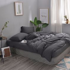 MisDress Ultra Soft Jersey Knit Cotton 3 Pieces Duvet Cover Set Soft and Durable Full Comforter Cover and Pillowcases Dark Gray Queen Size Solid Pattern Bedding Set Room Ideas Bedroom, Home Bedroom, Bedroom Decor, Gray Room Decor, Bedrooms, Bedding Decor, Grey Duvet, Dark Grey Bedding, Light Blue Bedding