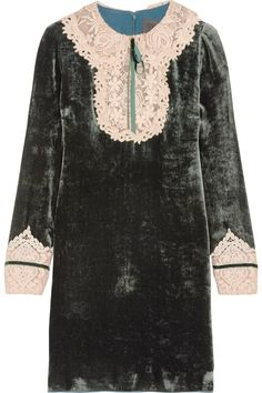 033263bf7f6 Anna Sui - Crocheted lace-trimmed velvet mini dress