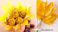 tutorial on how to turn autumn leaves into a bouquet of roses. Maple leaves and twine. Leaf Flowers, Fall Flowers, Diy Flowers, Fall Bouquets, Diy Bouquet, Boquet, Recycled Crafts, Diy And Crafts, Autumn Crafts