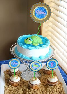 sea turtle themed baby shower | Use a Printable Cake Topper with a 3D Fondant Topper to Add a High-End ...