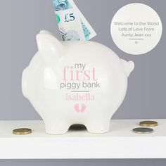 My First Piggy Bank Blue Pink Money Box Ceramic Christening Baptism Boys Girls