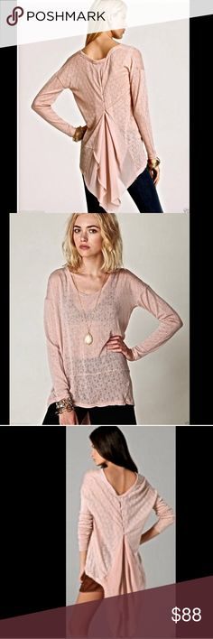 "Free People New Romantics ballet pink Top S Free People New Romantics ballet pink ""Accordion Tee"" lightweight semi sheer sweater tunic  Rendered in delicate chiffon and pointelle, Free People's accordion tee flaunts a dramatic high/low hem and graceful A-line gathering on the back for an ethereal finish. Scoop neck and back, long sleeves, pointelle front with drop waist seam.  New With Tags  *  Size: Small  70%  acrylic * 30% wool 100% poly insert pleated back 44"" around bust 28"" long in…"