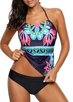 Dark Purple Backless Flower Print Tankini Top and Panty on sale only US$28.17 now, buy cheap Dark Purple Backless Flower Print Tankini Top and Panty at liligal.com