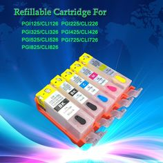 26.99$  Buy now - http://alih27.shopchina.info/go.php?t=32741136348 - Chipped refillable ink cartridges PGI-125 CLI-126 for Canon PIXMA IP4810 MG5210 IX6510 MG6110 etc., 5 sets 1 lot 26.99$ #shopstyle