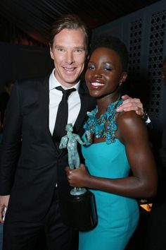 "Benedict Cumberbatch with fellow ""12 Years a Slave"" cast member Lupita Nyong'o, winner of the 2014 SAG Award for Best Supporting Actress in a Film."