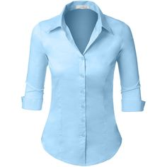 LE3NO Womens 3/4-Sleeve Easy Care Shirt ($18) ❤ liked on Polyvore featuring tops, button up shirts, 3/4 sleeve button down shirt, button down shirts, shirt tops and 3/4 sleeve shirts