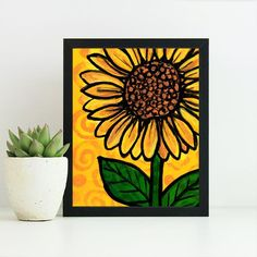 Whimsical Sunflower Print - Yellow Floral Art Print - Bright Colors - Flower Wall Art Decor - with optional black mat Easy Canvas Art, Easy Canvas Painting, Canvas Ideas, Flower Wall, Flower Prints, Sunflower Print, Flower Petals, Flowers, Whimsical Art