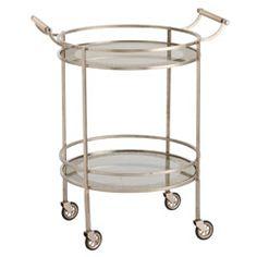 Arteriors Wade Vintage Silver/Glass Bar Cart AR6748