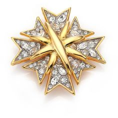 Kenneth Jay Lane Multi Cross Pavé Pin (£115) ❤ liked on Polyvore featuring jewelry, brooches, apparel & accessories, gold, cross jewelry, kenneth jay lane, rhinestone broach, pave jewelry and golden jewelry