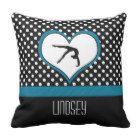 Blue Polka-Dot Gymnastics with heart Throw Pillow