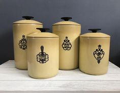 Green kitchen canister set / vintage green kitchen canister / west bend kitchen canister / coffee tea flour sugar canister Sold as a set Set of vintage west bend avocado green canisters Good vintage condition See photos for wear Inside of canisters are in good condition no rust Made