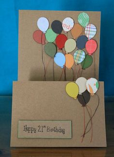 Handmade 21st Birthday card (21 bright balloons, each with their own string)