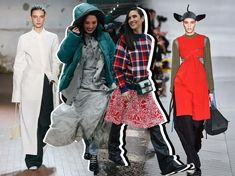 Shop the Eccentric Layering Trend Seen On and Off the Fall 2019 Runways   Vogue Dress Over Pants, Under Dress, Layering Trends, Tweed Trousers, Satin Midi Dress, Slip Skirts, Vogue, Street Style Trends, Confident Woman