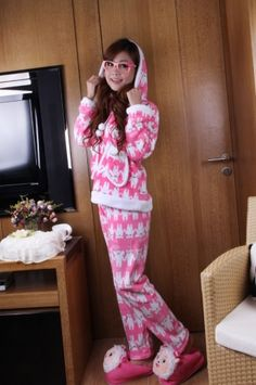 Animal Pattern Hooded Women's Pajama Set with Pockets on Buytrends.com, only price $36.25