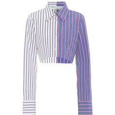 Off-White Cropped Striped Cotton Shirt (£510) ❤ liked on Polyvore featuring tops, shirts, crop, blue, striped top, blue crop top, blue shirt, blue striped top and cotton crop top