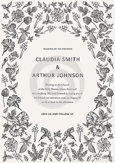 Beautiful thanks and white blooming realistic flowers. Vintage greeting invitation wedding floral card. Frame, label. Drawing and engraving heliotrope primavera hibiscus wildflowers. Vector victorian Illustration.