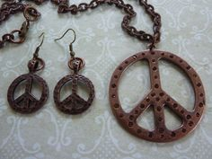 """Necklace & Earrings Set: 2"""" Copper PEACE Pendant with Rhinestones on Decorative 37"""" Copper Chain-Matching Etched 1"""" Copper PEACE Earrings"""