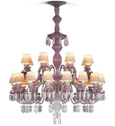 Lladro Chandelier in Pink - Chandelier entirely made in porcelain. ($16,500.00)