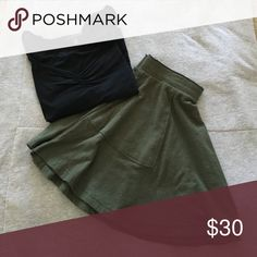 ⚡️FREE PEOPLE CIRCLE SKIRT⚡️ NWOT!! Never worn army green cotton free people circle skirt! Has pockets and is perfect for any season!! Free People Skirts Circle & Skater