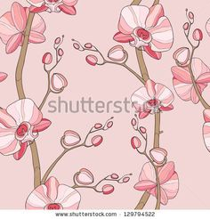 Seamless pattern with orchid - stock vector