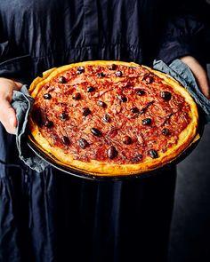 Delicious Magazine Recipes, Savoury Tarts, Pizza, Flaky Pastry, Food Words, Halloumi, French Riviera, Caramelized Onions