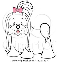 Cartoon of a Cute Long Hair Maltese Dog with a Pink Bow - Royalty Free Vector Clipart by Cartoon Character Studio