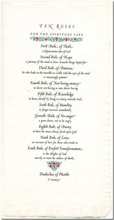 Ten Rules for the Spiritual Life.  I believe this card was designed by the Benedicitne Nuns of Stanbrook Abbey, Callow End, Worcester, England.