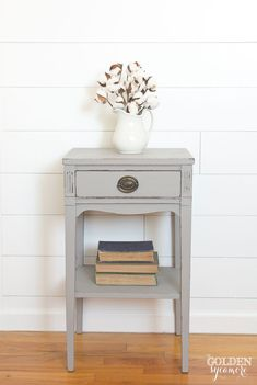 The Gray End Table that Almost Didn't Work Out - The Golden Sycamore I decided to go with a couple coats of Miss Mustard Seed's Milk Paint in Schloss (new European color) which is a beautiful, perfect gray and used bonding agent to help paint adhere.