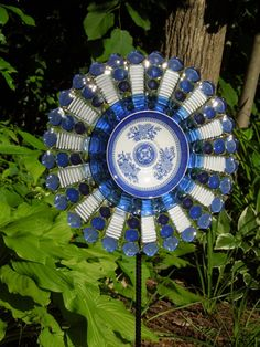 Outdoor GARDEN decor and YARD sun catcher made with by GlassBlooms, $48.00