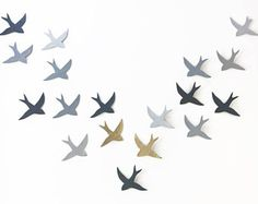 Extra large wall art Wall hanging original artwork sculpture 18 swallows Grey birds Gray & metallic gold Extra large art READY TO SHIP