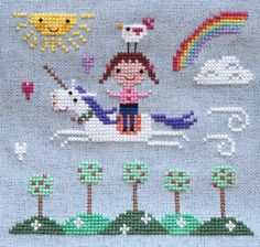 A cross stitch of a girl riding a flying unicorn, with a chicken on her head, while surrounded by trees, hearts, a rainbow, and the sun with a face. It's also every six year old girl's paradise.